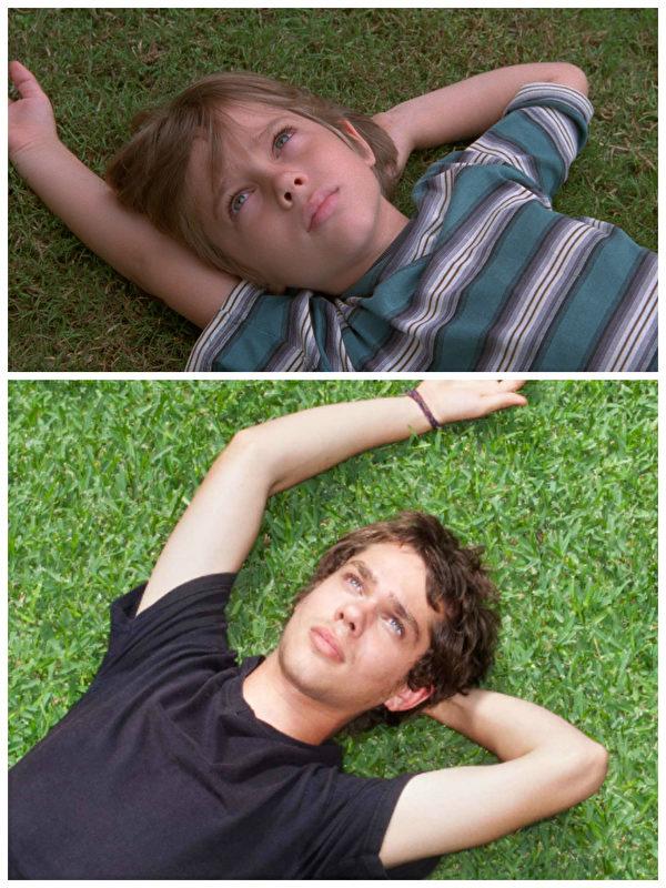 《少年時代》劇照,男主角梅森的昔日與今天。(IFC官方劇照/大紀元合成)