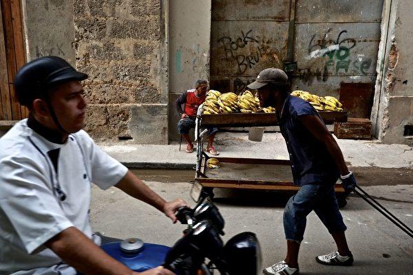 2012年11月12日,古巴首都哈瓦那街頭男子在售賣香蕉。自1959年施行共產主義制度以來,古巴於2011年首次放寬對私有經濟的限制,以讓大量失業的原國有企業職工自謀生路。(Greg Kahn/Getty Images)