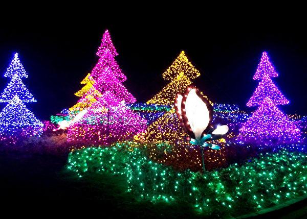 為迎接耶誕及元旦假期,交通部觀光局北觀處於轄區內金山水尾停車場、石門婚紗廣場、白沙灣及三芝淺水灣,布置各類燈飾,增添美麗夜景。(北觀處提供)