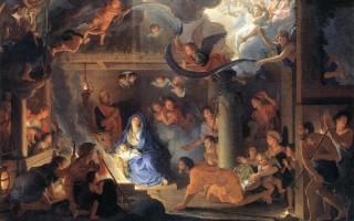 路易十四时代的艺术总管勒布杭(Charles Le Brun (1619-1690))这幅《耶稣诞生》,有古典的优雅秀丽,也有巴罗可的热闹、华丽与弧线动态感。(公有领域)