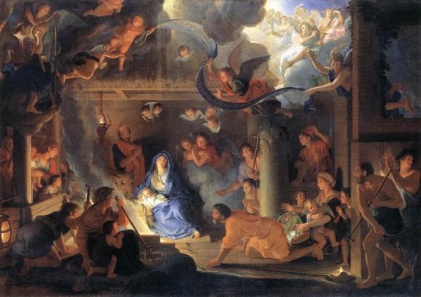 路易十四时代的艺术总管勒布杭(Charles Le Brun (1619-1690))这幅《耶稣诞生》,有古典的优雅秀丽,也有巴罗可的热闹、华丽与弧线动态感。(图片来源:网路图片)