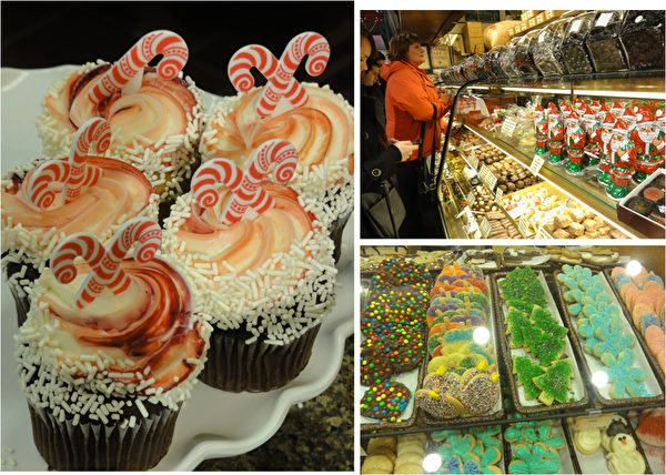 费城市中心瑞汀农贸市场(Reading Terminal Market)售卖的五彩缤纷的圣诞节糖果和糕饼。(司瑞/大纪元)