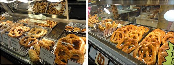 各种口味的特色椒盐卷饼(Pretzel)可作零食、也可摆上圣诞餐桌。(司瑞/大纪元)