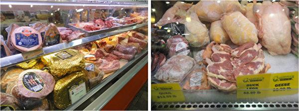 费城市中心瑞汀农贸市场(Reading Terminal Market)肉品摊位上堆满了圣诞节大餐的食材:火腿、猪里脊肉、猪排骨、猪绞肉,及鹅、鸭、鹌鹑等。(司瑞/大纪元)