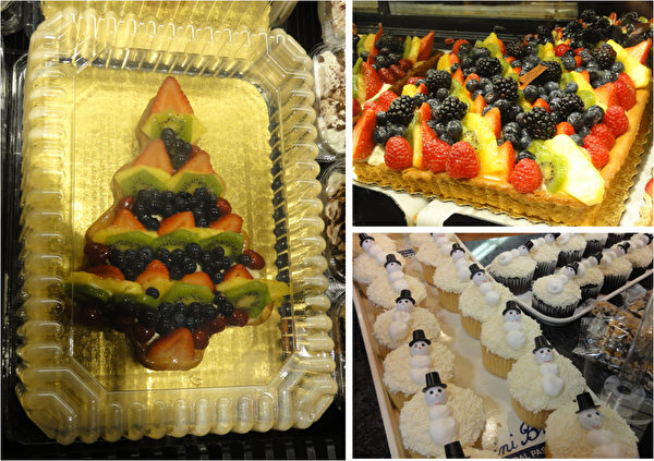 费城远郊Malvern镇的Wegman's 超级市场用鲜果烤制的甜点和惹人喜爱的圣诞雪人纸杯蛋糕。(司瑞/大纪元)