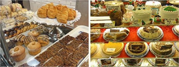 费城市中心瑞汀农贸市场(Reading Terminal Market)糕点摊位上圣诞蛋糕和水果派。(司瑞/大纪元)