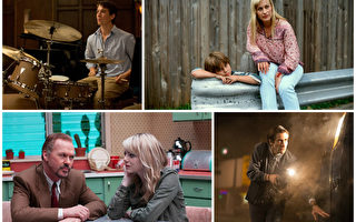 入围本届制片人工会奖的四部独立电影,左起顺时针:《爆裂鼓手》,《少年时代》,《夜行者》,《鸟人》。(官方剧照/大纪元合成图)