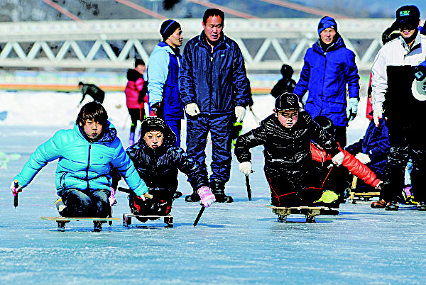 冬季民艺庆典——滑雪橇。(杨口郡观光科提供)