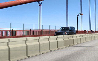 金門大橋新的水泥分隔樁。(大橋管理局提供)