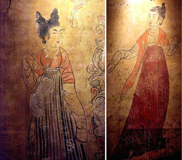 韋貴妃墓女侍圖。(維基百科公共領域/大紀元合成)