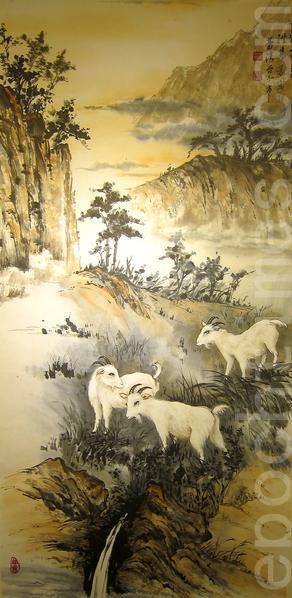 中華郵政辦理的「生肖郵票暨書畫展」,展期至2月22日,展出臺北市中國畫學研究會書畫家洪慧芳以生肖羊為主題的水墨畫《三羊開泰》。(鍾元/大紀元)