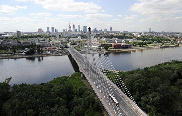 鸟瞰波兰华沙市中心和维斯瓦河(JANEK SKARZYNSKI/AFP/GettyImages)