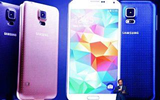 B三星早在2014年初就发布了配备指纹传感器的Galaxy S5。(Photo by David Ramos/Getty Images)