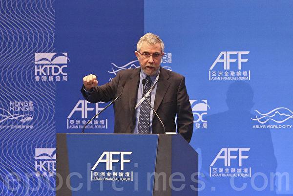 亚洲金融论坛第二日,普林斯顿大学经济及国际事务教授保罗.克鲁明(Paul Krugman)发表专题演讲。(余钢/大纪元)