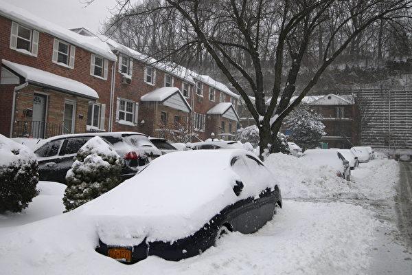 2015年1月27日,紐約皇后區東北部雪景。(鐘鳴/大紀元)