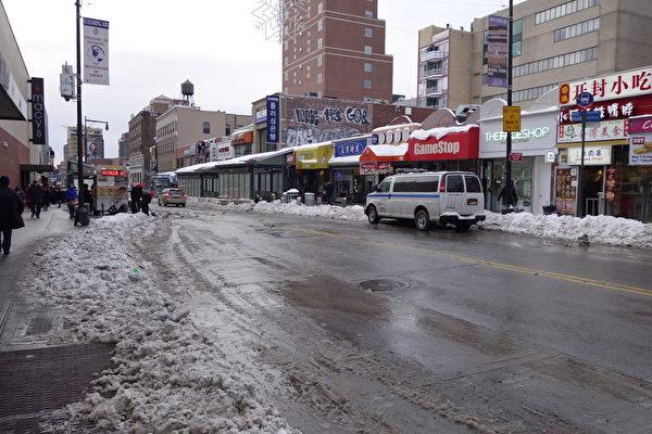 2015年1月27日,紐約法拉盛,一向車水馬龍的街道冷清許多。 (陳正洪/大紀元)