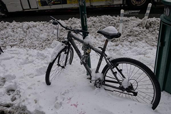 2015年1月27日,紐約法拉盛,路旁腳踏車上的積雪。(陳正洪/大紀元)