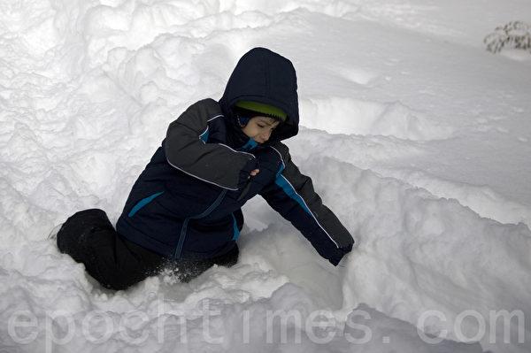 2015波士頓暴風雪後,幼童玩雪。(攝影:徐明/大紀元)