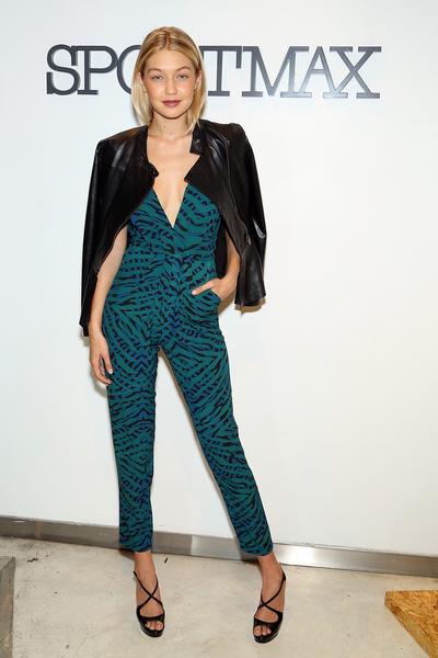 2014年10月28日,紐約市,出席Sportmax2014秋/冬展的Gigi Hadid。(Monica Schipper/Getty Images for Teen Vogue)