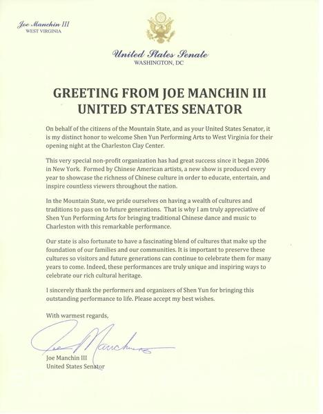 美國聯邦參議員Joe Manchin III特為神韻在西維州查爾斯頓市的首場演出發來賀信。(大紀元資料室)