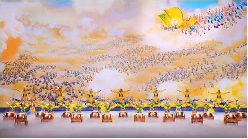 战鼓声声,将士威武,神韵艺术团演出图片。(大纪元图片)
