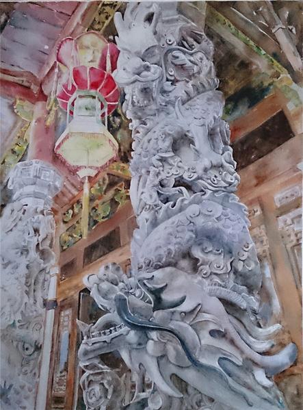 张宝玲 《蟠龙双柱》 76X56cm 2014(图:中华亚太水彩艺术协会提供)