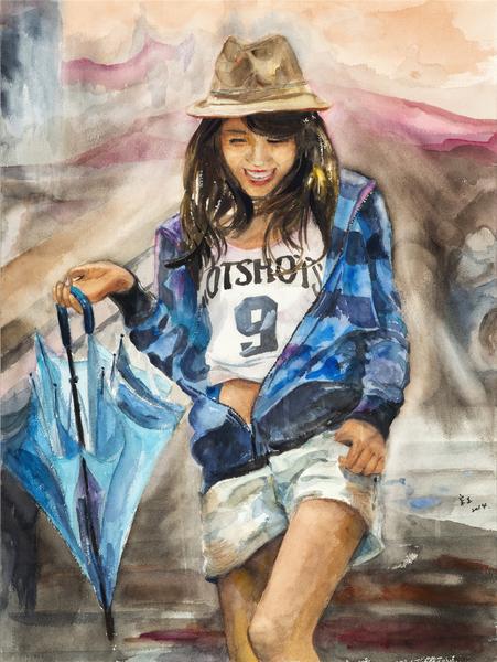 郭宗正 《拿伞的女孩》 76x56cm(图:中华亚太水彩艺术协会提供)