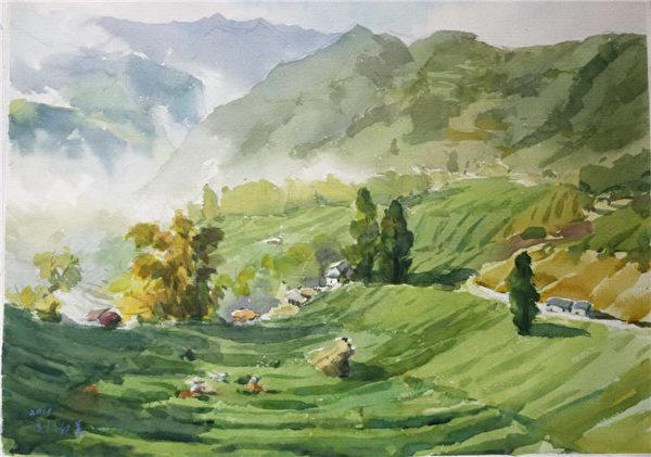 刘淑美 《隙顶晨光》 56 x 76 cm 2014(图:中华亚太水彩艺术协会提供)