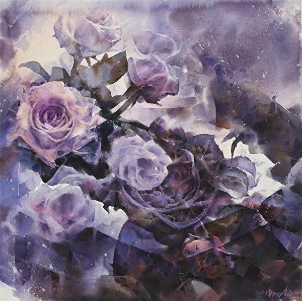 谢明锠 《玫瑰的身影》 74_74cm 2014(图:中华亚太水彩艺术协会提供)