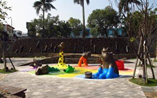 """礁溪乡公所完成的公共艺术,设置主题""""快乐泉源""""。(礁溪乡公所提供)"""