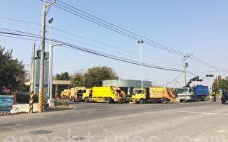 溪州焚化炉外排队进场的垃圾车。(郭益昌/大纪元)