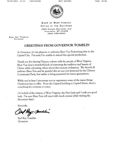 西維吉尼亞州州長Earl Ray Tomblin發給神韻藝術團賀信。(大紀元資料室)