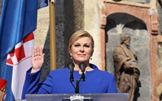 克罗埃西亚首位女总统季塔洛维奇(Kolinda Grabar-Kitarovic)2月15日宣誓就职。(LANA SLIVAR DOMINIC/POOL/AFP )