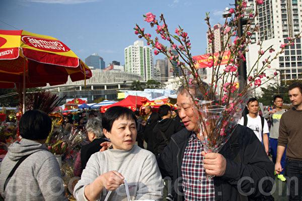 中国传统新年(羊年)即将到来,香港最大的年宵市场人头涌涌,买花过年的市民随处可见。(潘在殊/大纪元)