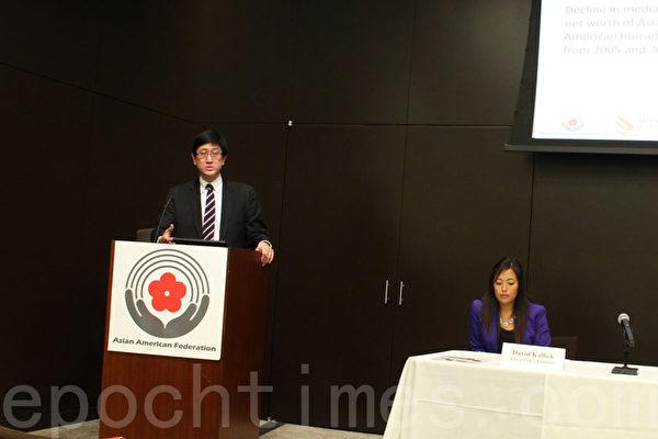 紐約亞美聯盟和洛杉磯亞美公義促進中心2月27日發布2014年勞工市場和企業內亞裔、夏威夷原住民、太平洋島居民狀況報告。(王依瀾/大紀元)