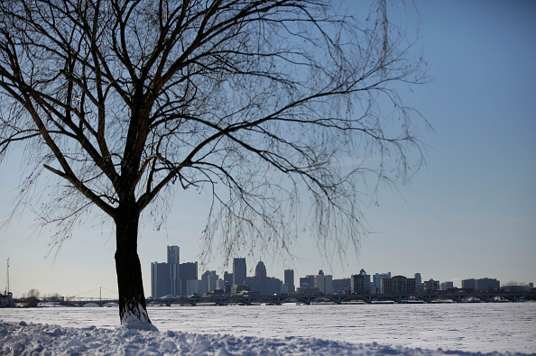 大雪过后的底特律(Detroit)。(Joshua Lott/Getty Images)