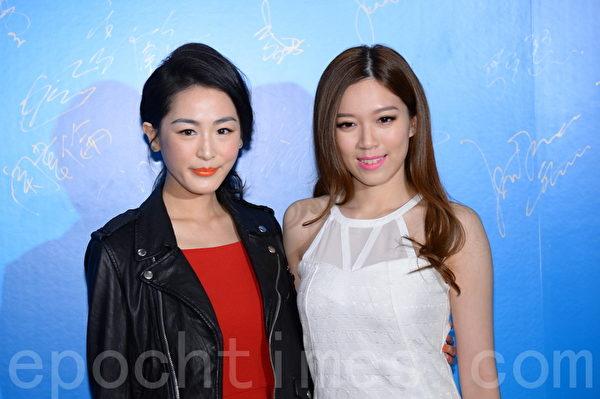 香港電視周年晚會,藝人黃芷晴(右)到場。(宋祥龍/大紀元)