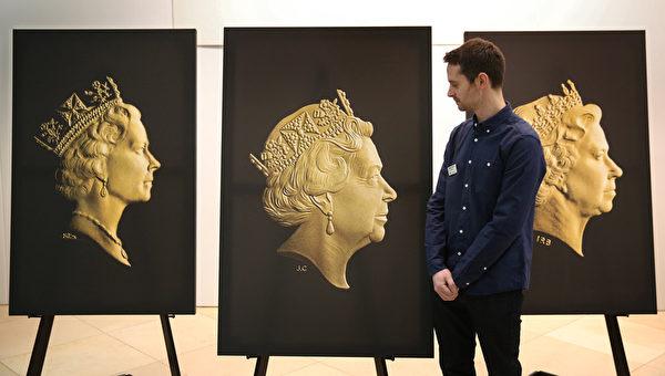 3月2日,英国伦敦,国家肖像画廊对外展示新的女王伊丽莎白二世的肖像(中)。(Peter Macdiarmid/Getty Images)