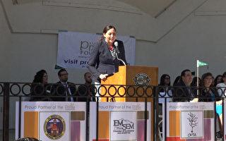 活动现场特别来宾白宫拉美裔美籍教育卓越计划执行董事切娅(Alejandra Ceja)演讲。(薛文/大纪元)