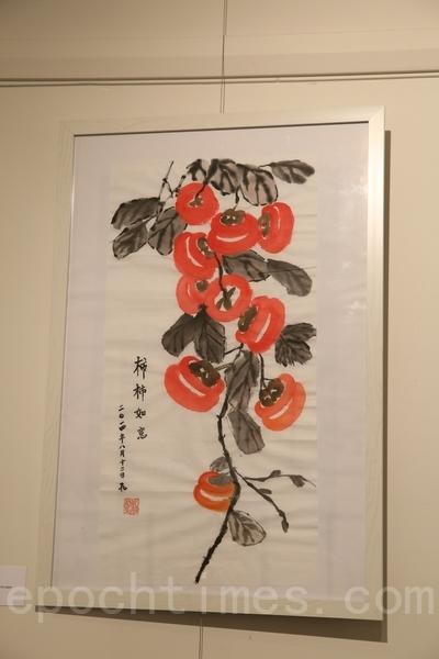 女工的作品:柿柿如意。(摄影:何蔚/大纪元)