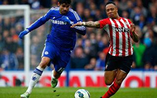 切尔西前锋科斯塔(左)打入了本赛季英超第18粒进球。(Clive Rose/Getty Images)