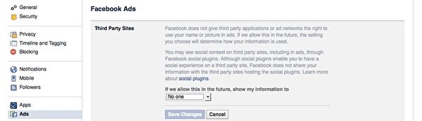 Facebook的【廣告】(Ads)設定頁面。(廣元/大紀元)