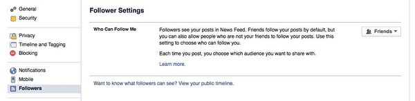 Facebook的【追踪者】(Followers)设定页面。(广元/大纪元)