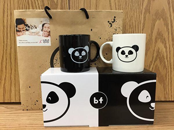 """范玮琪送的满月礼""""熊猫对杯""""。(福茂提供)"""