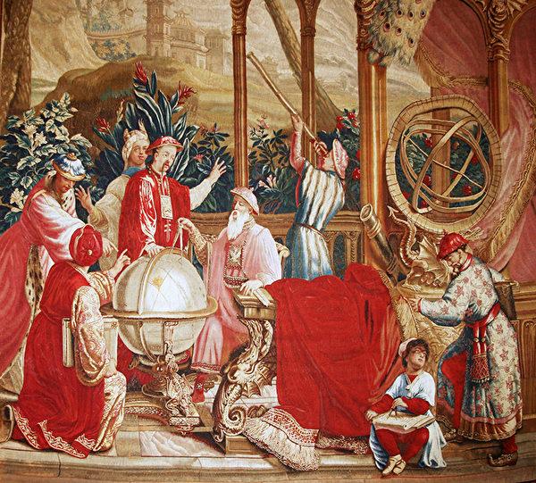 """盖帝博物馆展出的法国挂毯,绘制""""中国皇帝的故事""""之一。这幅图片是《天文学家》局部图之一。(Juliet Zhu/大纪元)"""