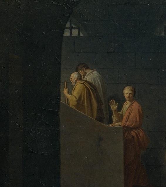 [法]雅克―路易‧大卫《苏格拉底之死》局部。(美国大都会艺术博物馆官网图片)