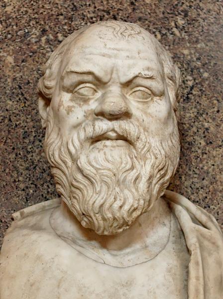 苏格拉底胸像,大理石雕塑,古希腊原作之古罗马复制品,梵蒂冈博物馆藏。(维基百科公共领域)