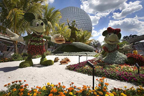奥兰多迪士尼乐园内卡通人物造型花卉。(Jim WATSON/AFP)