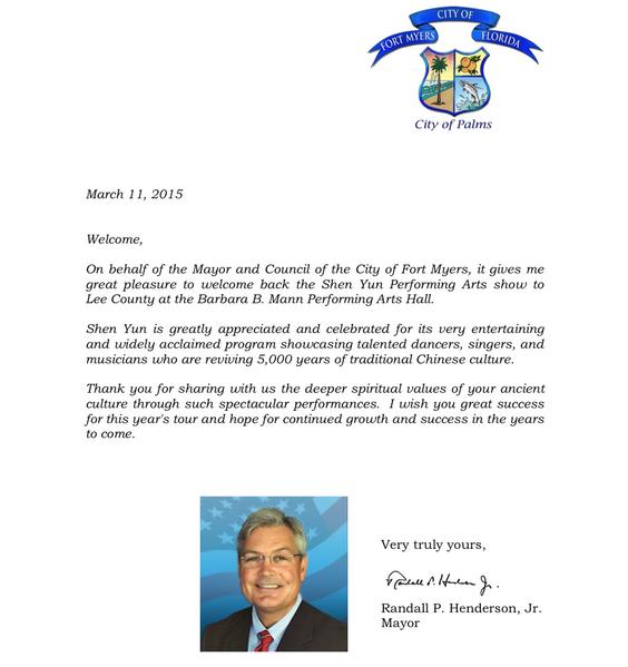 美国佛罗里达州迈尔斯堡市长Randall P. Henderson Jr.向当地神韵主办方发来贺信,欢迎神韵的到来,并向神韵艺术家们表达感谢之意。(大纪元资料室)