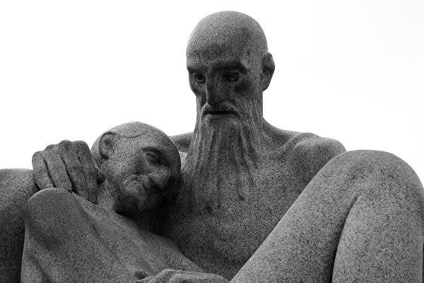 威格兰公园中的父与子——石头般的坚定温柔